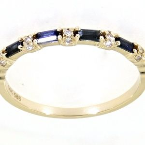 Blue Sapphire Gemstone 14K Yellow Gold Fine Band